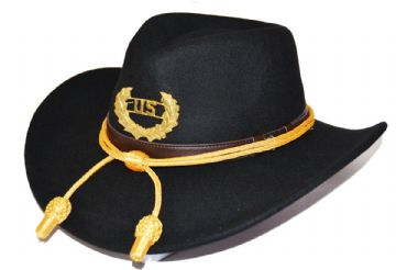 Union Black Slouch Hat Gold Cord & Metal US Badge